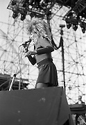 Tina Turner Live At The RDS.  (R59)..1987..30.05.1987..05.30.1987..30th May 1987..As part of her world tour Tina Turner took to the stage at the RDS,Dublin. Accompanied by her band, singers and dancers she played to a sell out audience, thrilling them with her renditions of her classic hits...Picture shows Tina Turner on stage giving it her all as she performs her hits for the appreciative audience,at the RDS in Dublin.