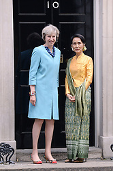 LONDON, ENGLAND: 13TH SEPTEMBER  Prime Minister Theresa May welcomes  Burmese leader Aung San Suu Kyi at 10 Downing Street in London on the 13th September 2016. <br /> Photo Joanne Davidson/SilverHub 0208 004 5359/07711 972644<br /> Editors@silverhubmedia.com