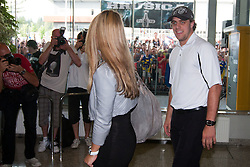 Anze Kopitar and his girlfriend  Ines Dominc at Slovenian ice-hockey player NHL Champion Anze Kopitar welcome ceremony when he arrived home after winning Stanley Cup at the end of season 2011/2012, on June 20, 2012, at airport Jozeta Pucnika, Brnik, Slovenia.(Photo by Grega Valancic / Sportida.com)