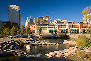 The Truckee River passing through downtown Reno Nevada.