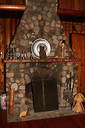 Fireplace in Gordon MacQuarrie's cabin on Middle Eau Claire Lake in Bayfield County, Wisconsin.