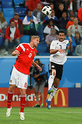 June 19, 2018 - SãO Petersburgo, Rússia - SÃO PETERSBURGO, MO - 19.06.2018: RUSSIA VS EGYPT - Gazinskii and Ahmed Fathi during the match between Russia and Egypt valid for the 2018 World Cup held at the Zenit Arena in St. Petersburg, Russia. (Credit Image: © Ricardo Moreira/Fotoarena via ZUMA Press)
