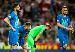 Miha Mevlja of Slovenia, Andraž Šporar of Slovenia, Jan Oblak of Slovenia, Jasmin Kurtič of Slovenia look dejected after the 2020 UEFA European Championships group G qualifying match between Austria and Slovenia at Wörthersee Stadion on June 7, 2019 in Klagenfurt, Austria. Photo by Vid Ponikvar / Sportida