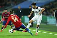 Son Heung-Min of Tottenham Hotspur and Kirill Nababkin of CSKA Moscow compete for the ball. UEFA Champions league match, group E, Tottenham Hotspur v CSKA Moscow at Wembley Stadium in London on Wednesday 7th December 2016.<br /> pic by John Patrick Fletcher, Andrew Orchard sports photography.