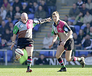 Twickenham, Surrey, 16th March 2003, Zurich Premiership Rugby, The Stoop Memorial Ground, England, [Mandatory Credit; Peter Spurrier/Intersport Images]<br /> 16/03/2003<br /> Sport - Rugby  Zurich Premiership <br /> London Irish v Harlequins<br /> Quins Paul Burke chip's and run's