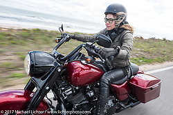 """Iron Lilly Leticia Cline testing out the all new 2017 Harley-Davidson Road King Special with its 107"""" Milwaukee-Eight engine north on A1A near Flagler Beach during Daytona Beach Bike Week. FL. USA. Tuesday, March 14, 2017. Photography ©2017 Michael Lichter."""