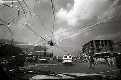 View from the usual smashed window of an Afgan Taxicab