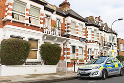 A 'small, contained' fire in an upstairs flat of a converted Victorian Terrace home in Burnfoot Avenue, Fulham,  claimed the life of a woman. Fulham, London. February 07 2018.