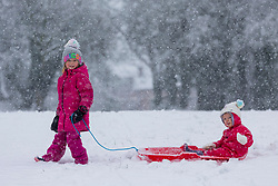 © Licensed to London News Pictures. 14/01/2021. Leeds UK. 5 year old Scarlet pulls her sister Holly age 2 through the snow today at Primrose Valley park in Leeds after heavy snowfall in Yorkshire. Photo credit: Andrew McCaren/LNP