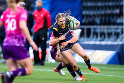 Vicky Laflin of Worcester Warriors Women is tackled as she attempts to break down the left wing - Mandatory by-line: Nick Browning/JMP - 14/11/2020 - RUGBY - Sixways Stadium - Worcester, England - Worcester Warriors Women v Loughborough Lightning - Allianz Premier 15s