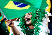 A Brazil fan waves the country's flag during the 2018 FIFA World Cup Russia group E match between Serbia and Brazil at Spartak Stadium on June 27, 2018 in Moscow, Russia.