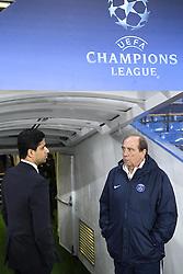 09.03.2016, Stamford Bridge, London, ENG, UEFA CL, FC Chelsea vs Paris Saint Germain, Achtelfinale, Rueckspiel, im Bild al khelaifi nasser, gasset jean louis // during the UEFA Champions League Round of 16, 2nd Leg match between FC Chelsea vs Paris Saint Germain at the Stamford Bridge in London, Great Britain on 2016/03/09. EXPA Pictures © 2016, PhotoCredit: EXPA/ Pressesports/ LAHALLE PIERRE<br /> <br /> *****ATTENTION - for AUT, SLO, CRO, SRB, BIH, MAZ, POL only*****