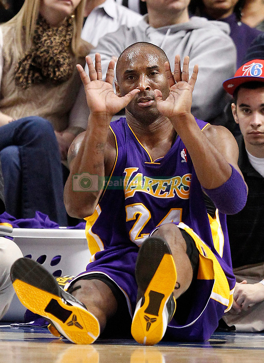 File photo of The Los Angeles Lakers' Kobe Bryant reacts after getting fouled by the Philadelphia 76ers' Andre Iguodala during game action at the Wells Fargo Center in Philadelphia, Pennsylvania, Monday, February 6, 2012. (Ron Cortes/Philadelphia Inquirer/TNS/ABACAPRESS.COM)