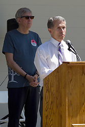 10 May 2014:  Normal Mayor Chris Koos and Bloomington Mayor Tari Renner 25th anniversary celebration of the Constitution Trail ceremony at Connie Link Amphitheater in Normal Illinois