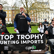 Stanley Johnson addresses the crowds at the 5th Global March for Elephants and Rhinos march against extinction and trophy hunting murdering and killing animals for blood spots and ivory trade on 13 April 2019, London, UK.