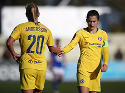 Chelsea's Karen Carney (right) shows her dejection after the Women's Super League match at the Automated Technology Group Stadium, Solihull.