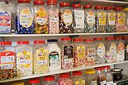 Jars of traditional sweets in sweet-shop, Woodbridge, Suffolk, England