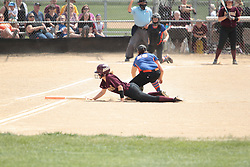 03 June 2017:  Aynsleigh DeFries make a dive back to first on a throw from the Bombers catcher.  Argenta Oreana Bombers at Le Roy Panthers for the IHSA Class 1A Le Roy Regional Finals in Le Roy Illinois