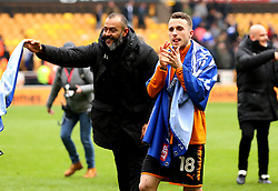 Free to use courtesy of Sky Bet - Diogo Jota of Wolverhampton Wanderers and Wolverhampton Wanderers manager Nuno celebrate winning promotion the Premier League - Mandatory by-line: Robbie Stephenson/JMP - 15/04/2018 - FOOTBALL - Molineux - Wolverhampton, England - Wolverhampton Wanderers v Birmingham City - Sky Bet Championship