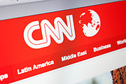 Computer screen showing the website for US online news service, CNN