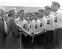 Fotball<br /> Foto: Colorsport/Digitalsport<br /> NORWAY ONLY<br /> <br /> Queen Elizabeth, The Queen Mother is introduced to Joe Walton by Captain Tom Finney - Preston North End, Preston North End v West Bromwich Albion FA Cup Final 1/5/54