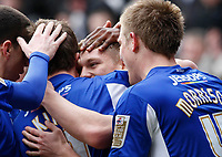 Photo: Steve Bond/Richard Lane Photography. Leicester City v Cardiff City. Coca Cola Championship. 13/03/2010. Martyn Waghorn (C) is congratulated