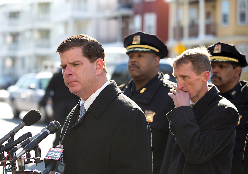 Boston, MA 02/07/2014<br /> Boston Mayor Martin Walsh addresses the media gathered on Morton Street on Friday afternoon at the scene of an accidental shooting that killed a 9 year old boy.<br /> Alex Jones / www.alexjonesphoto.com