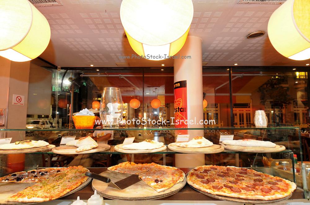 Israel, Tel Aviv, Pizza shop