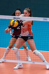 Jolijn de Haan of Netherlands, Romy Brokking of Netherlands in action during United States - Netherlands, FIVB U20 Women's World Championship on July 15, 2021 in Rotterdam