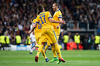 Juventus Mario Mandzukic and Giorgio Chiellini celebrating a goal during Champion League match between Real Madrid and Juventus at Santiago Bernabeu Stadium in Madrid, Spain. April 11, 2018. (ALTERPHOTOS/Borja B.Hojas)
