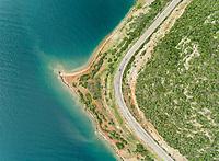 Aerial view of the beautiful coastline and sea in Fokida, Greece
