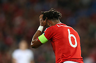 Ashley Williams of Wales holds his head after taking a knock. Wales v Austria , FIFA World Cup qualifier , European group D match at the Cardiff city Stadium in Cardiff , South Wales on Saturday 2nd September 2017. pic by Andrew Orchard, Andrew Orchard sports photography