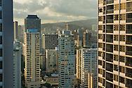 Tall Buildings and hotels in downtown Waikiki, Oahu, Hawaii