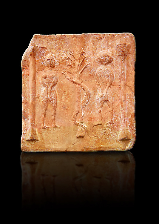 6th-7th Century Eastern Roman Byzantine  Christian Terracotta tiles depicting Adam & Eve with a serpent wrapped around a tree between them - Produced in Byzacena -  present day Tunisia. <br /> <br /> These early Christian terracotta tiles were mass produced thanks to moulds. Their quadrangular, square or rectangular shape as well as the standardised sizes in use in the different regions were determined by their architectonic function and were designed to facilitate their assembly according to various combinations to decorate large flat surfaces of walls or ceilings. <br /> <br /> Byzacena stood out for its use of biblical and hagiographic themes and a richer variety of animals, birds and roses. Some deer and lions were obviously inspired from Zeugitana prototypes attesting to the pre-existence of this province's production with respect to that of Byzacena. The rules governing this art are similar to those that applied to late Roman and Christian art with, in the case of Byzacena, an obvious popular connotation. Its distinguishing features are flatness, a predilection for symmetrical compositions, frontal and lateral representations, the absence of tridimensional attitudes and the naivety of some details (large eyes, pointed chins). Mass production enabled this type of decoration to be widely used at little cost and it played a role as ideograms and for teaching catechism through pictures. Painting, now often faded, enhanced motifs in relief or enriched them with additional details to break their repetitive monotony.<br /> <br /> The Bardo National Museum Tunis, Tunisia.  Against a black background.