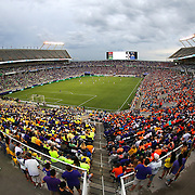 ORLANDO, FL - JUNE 18:  Fans wear rainbow colored shirts in support of the 49 shooting victims of the Pulse nightclub tragedy during an MLS soccer match between the San Jose Earthquakes and the Orlando City SC at Camping World Stadium on June 18, 2016 in Orlando, Florida. (Photo by Alex Menendez/Getty Images) *** Local Caption ***