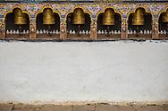 Buddhist Prayer Wheels at Chimi L'hakhang Temple, Punakha District, Bhutan