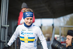 Emma Johansson of the Orica-AIS Cycling Team leaves the sign-on podium before the start of the 2015 Omloop Het Niewsblaad Dames race in Gent.