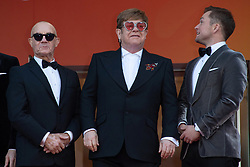 Bernie Taupin, Sir Elton John and Taron Egerton attending the Rocketman Premiere as part of the 72nd Cannes International Film Festival in Cannes, France on May 16, 2019. Photo by Aurore Marechal/ABACAPRESS.COM