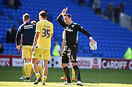 Millwall goalkeeper David Forde gives the thumbs up to the Millwall fans at end of match.Skybet football league championship, Cardiff city v Millwall at the Cardiff city stadium in Cardiff, South Wales on Saturday 18th April 2015<br /> pic by Andrew Orchard, Andrew Orchard sports photography.