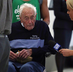 AU_1221224 - perth, AUSTRALIA  -  Australia's oldest working scientist David Goodall 104 years old is seen talking to media as he departs Perth Airport for Switzerland ahead of his euthanasia appointment.<br /> <br /> BACKGRID Australia 1 MAY 2018 <br /> <br /> Phone: + 61 2 8719 0598<br /> Email:  photos@backgrid.com.au