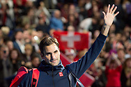 Roger Federer of Switzerland waves to the crowd after winning his match during the Nitto ATP World Tour Finals at the O2 Arena, London, United Kingdom on 13 November 2018.Photo by Martin Cole