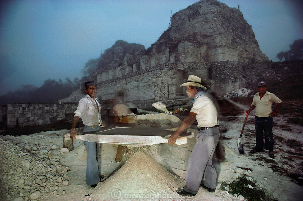Reconstructing the Mayan ruins at Becan, Yucatan, Mexico. Peculiar for its large artificial moat.