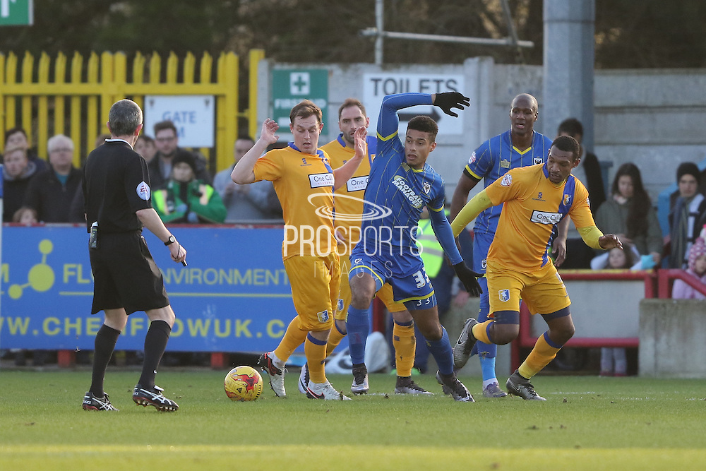 Lyle Taylor of AFC Wimbledon in action during the Sky Bet League 2 match between AFC Wimbledon and Mansfield Town at the Cherry Red Records Stadium, Kingston, England on 16 January 2016. Photo by Stuart Butcher.