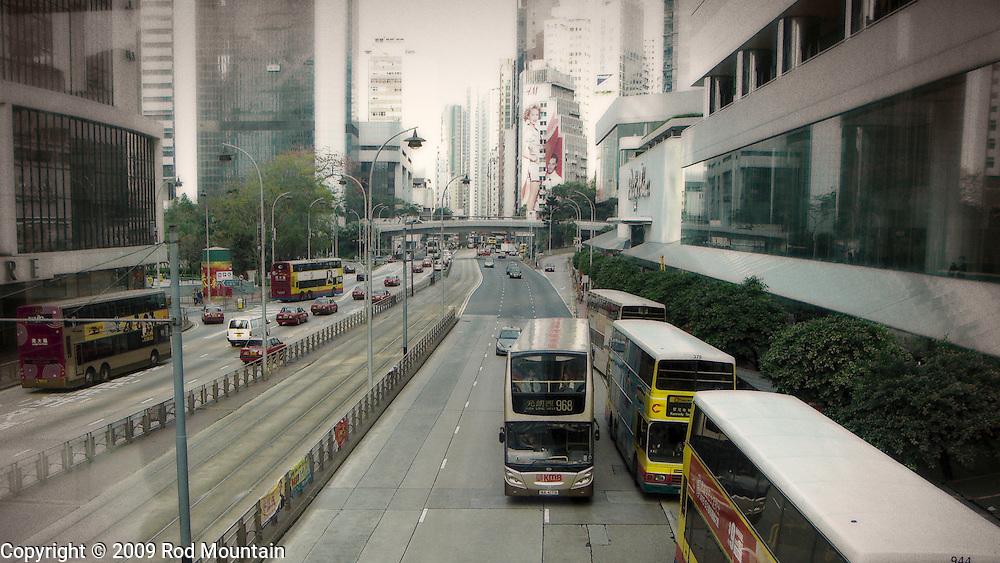 Double Decker Buses en route in Hong Kong