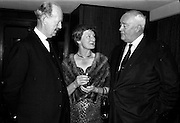 20/5/1965<br /> 5/20/1965<br /> 20 May 1965<br /> <br /> Mr. J.CB. McCaitty Secretary Department of Industry and Commerce;Dr Mary Dempsey of Surrey England the Only Woman delegate in the conference chatting with Mr. Norman Judd o Dublin Chairman of the Irish Hide Improvement Society at a dinner given by the Society at Jury's Hotel for the Conference delegates