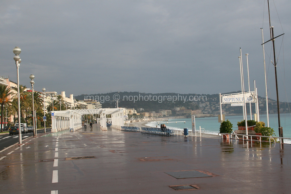 Promenade des Anglais seafront in December Nice France<br />