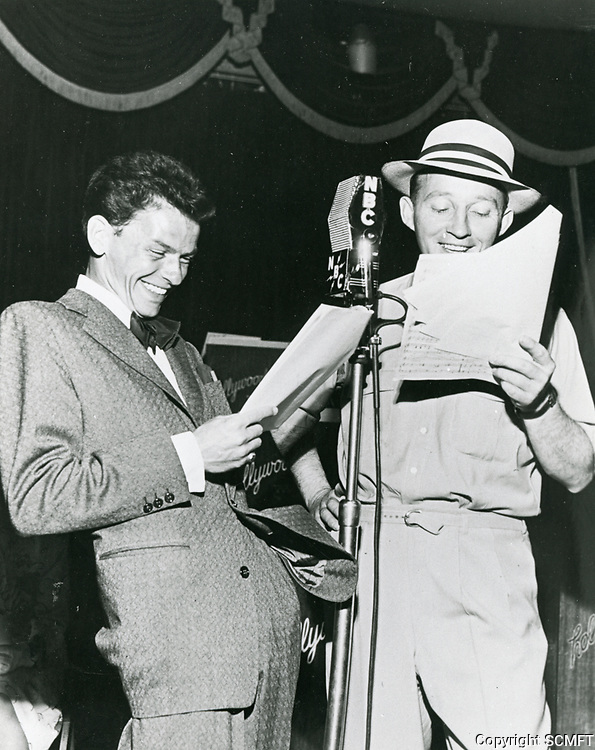 1943 Frank Sinatra and Bing Crosby during a radio broadcast from the Hollywood Canteen