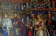 Mural depicting four generations of the Hohenzollern Dynasty at the Kaiser Wilhelm Gedächtniskirche Breitscheidplatz, Berlin-Charlottenburg. Mural shows from left to right, Wilhelm I, Frederick III, Wilhelm II and his wife Augusta Viktoria. Behind them is Crown Prince Wilhelm (1882-1951).