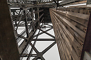 The cables on the left attach the bridge span to the 1100 ton counterweight used to lift the span to allow ships to pass.