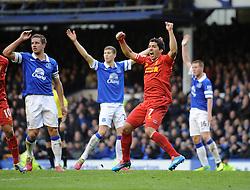 Liverpool's Luis Suarez celebrates Liverpool's Daniel Sturridge's goal  - Photo mandatory by-line: Dougie Allward/JMP - Tel: Mobile: 07966 386802 23/11/2013 - SPORT - Football - Liverpool - Merseyside derby - Goodison Park - Everton v Liverpool - Barclays Premier League